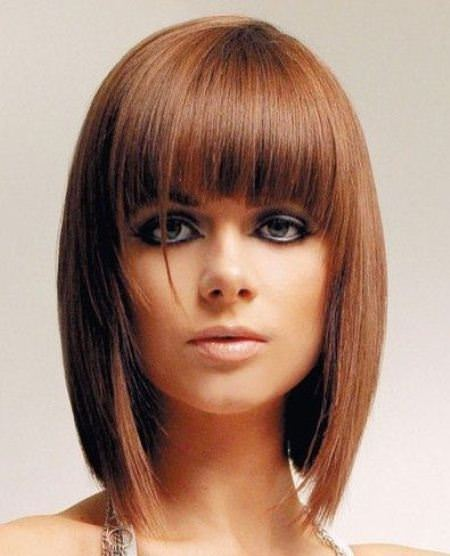 sleek and sexy long bob with bangs short fringe Hairstyles