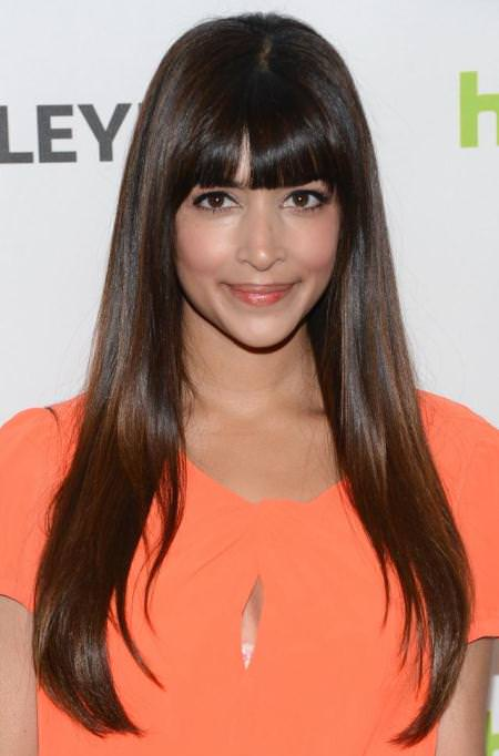 sleek long hair with blunt bangs hairstyles for long thick hair