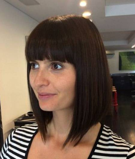 slick Ricki medium length angled bob with bangs short fringe Hairstyles