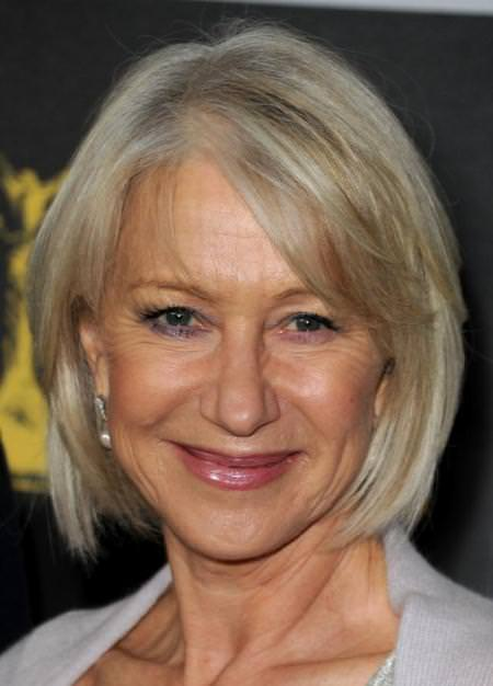 straight blonde bob with side bangs hairstyles for older women