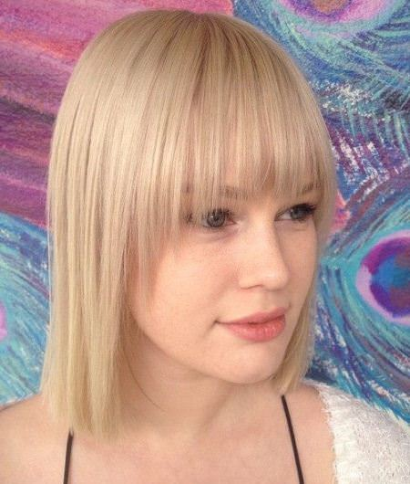 straight blonde bob with thing bangs short fringe Hairstyles