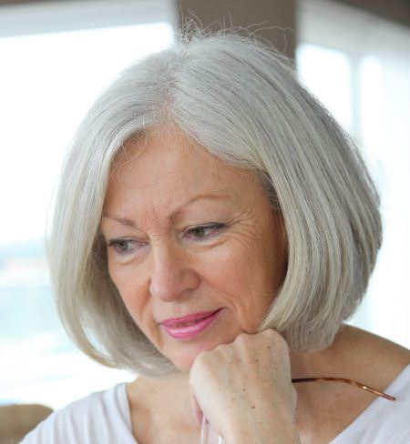 straight silver bob hairstyles for older women