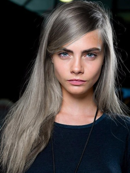 straight silver locks with bangs hairstyles for gray hair