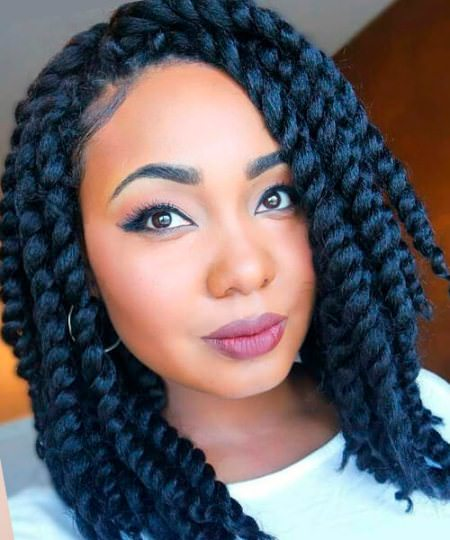 thick mid length twist hairstyles for natural hair
