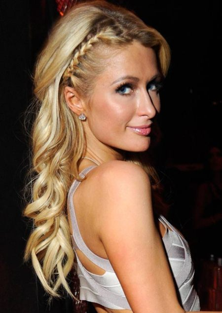tight front braid with voluminized crown and curls bridal hairstyles