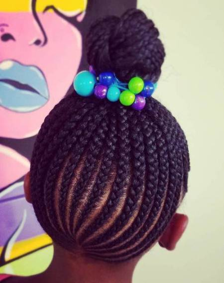 topknot with cornrows braidstyles for girls