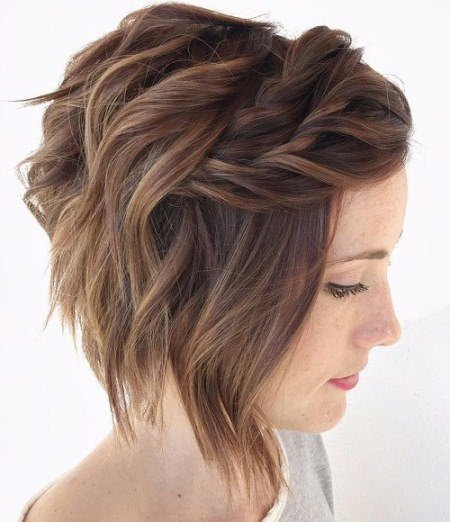tousled hair with twist medium length hairstyles for women