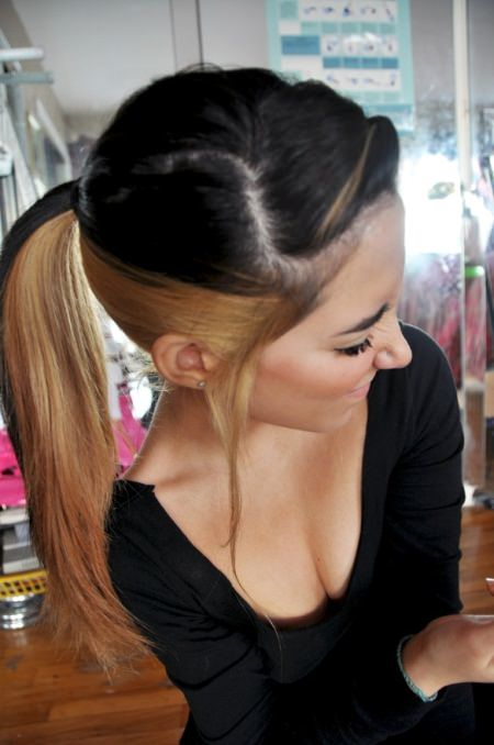 two tone ponytails with bangs