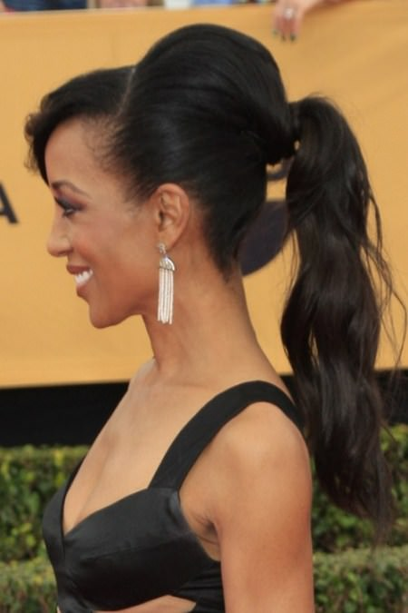 volumized ponytail with bangs Black Hairstyles with Bangs