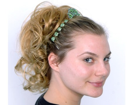 wavy ponytails with a sparkling headband
