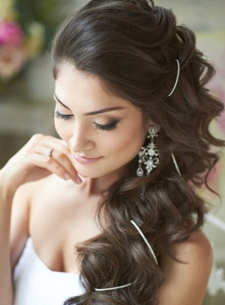 wavy side downdo with a decorative string hairstyles for brides and bridesmaids