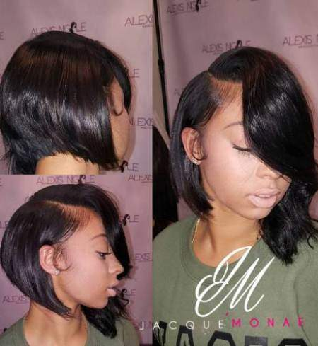 African American side swept bobs for round faces