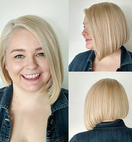 Asymmetrical bobs for round faces