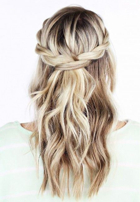 Braided hairstyles with sutble waves half up and half down wedding hairstyles