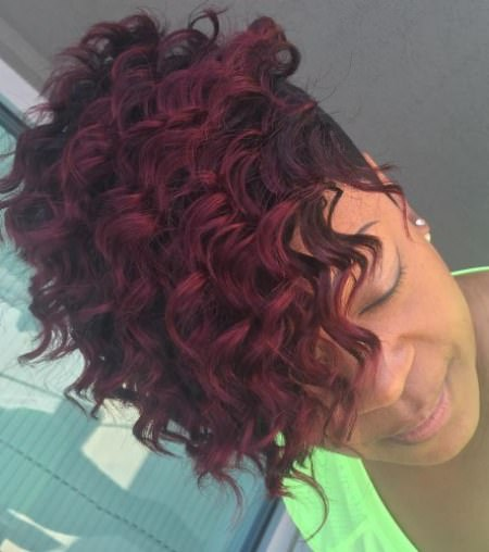Cherry red ringlest weave hairstyles for black women