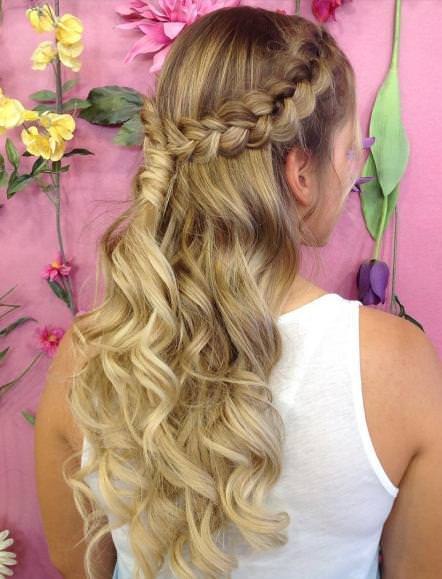 Elegant curls with braid braided hairstyles