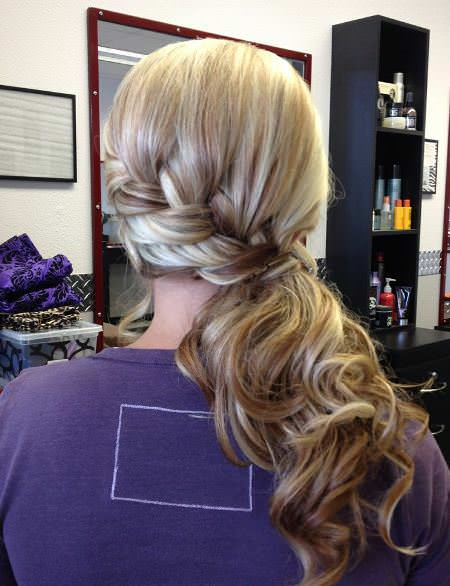 French Braid with Curls french braid ponytails