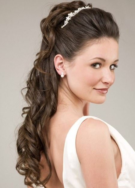 Gorgeous half up half down long hair wedding curly hairstyles