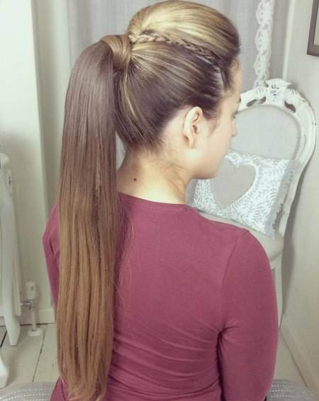 Long Elegant Ponytail french braid ponytails