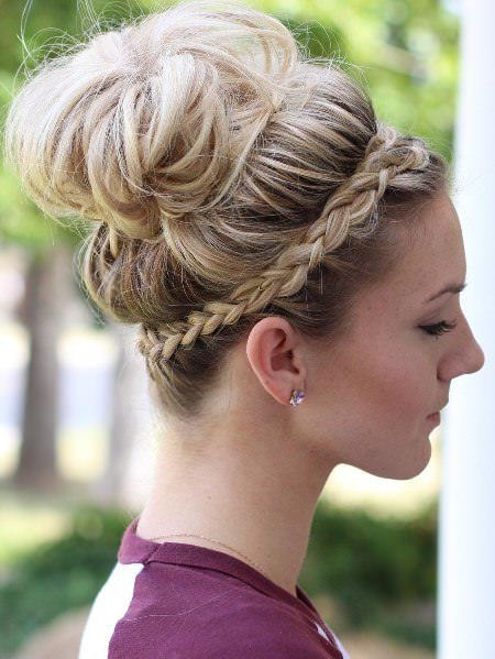 Messy bun with a crowd braid updos for long hair