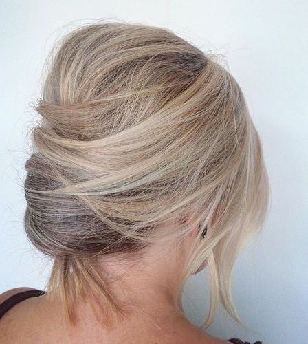 Messy short haired twist french twist updos