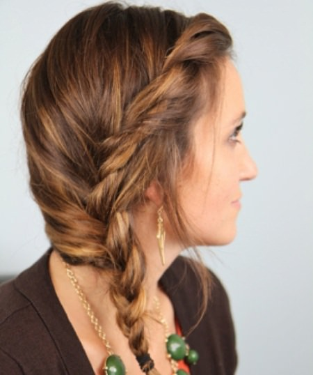 Messy twist side braid hairstyles