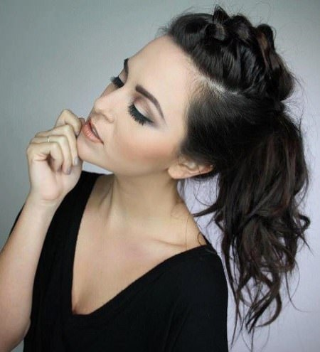 Mohawk braid and ponytail messy ponytail hairstyles