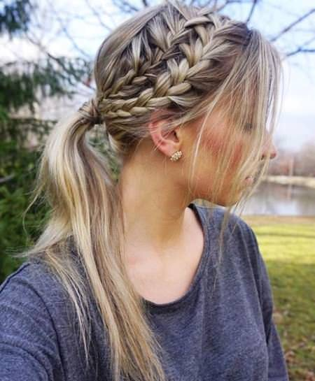Perfectly Messy Braid Style french braid ponytails