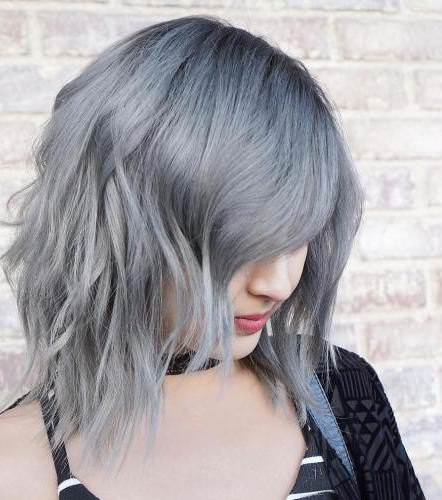 Silver lob with darked roots long bob hairstyles