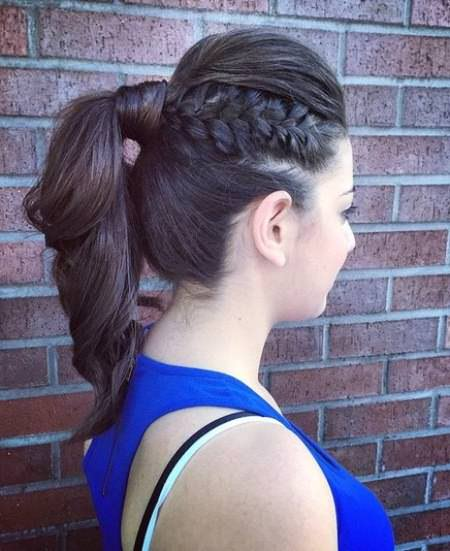 Unique Braided Up-Do french braid ponytails