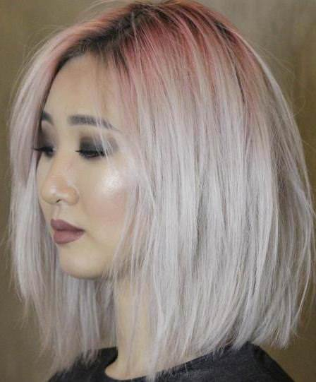 bleached bob with red root shadow bobs for round faces