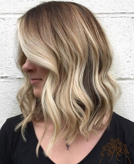 Long A line ombre long bob hairstyles