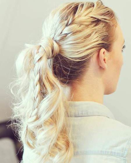 braided and knotted ponytail messy ponytail hairstyles