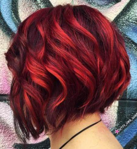 bright red balayge balayage short hair looks