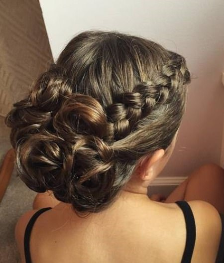 classic updo with thick accent braid updos for long hair
