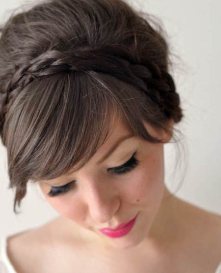 crown braid with thick side swept bangs
