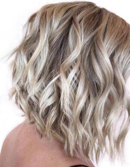 curly angled bob blonde bobs for women