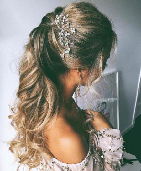curly ponytail for long hair half up and half down wedding hairstyles