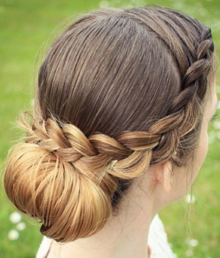 cute chignon with braid braided hairstyles