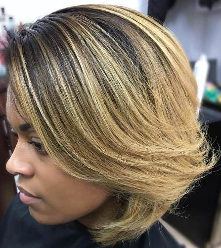 dark and light contrasting blonde bobs for women