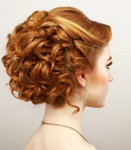 elegant curled prom style updos for women