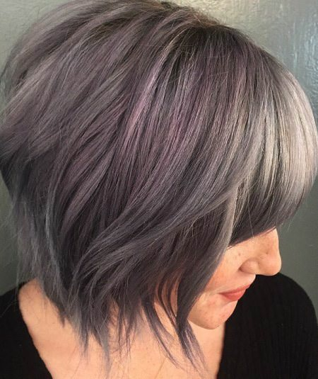 gray purple medium length fringes medium bob hairstyles