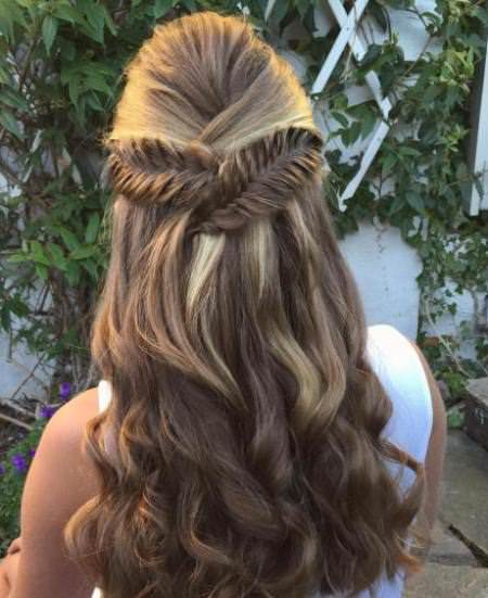 half up ponytail fishtail updo braided hairstyles