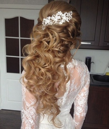 half updo wedding with jeweled clips half up and half down wedding hairstyles