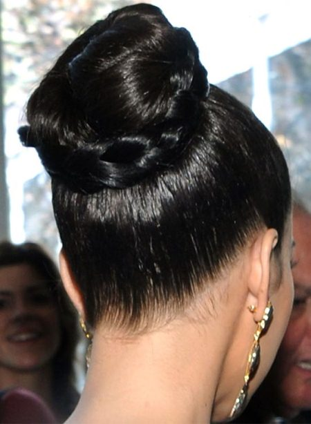 high polished bun with braided wrap ideas for brides