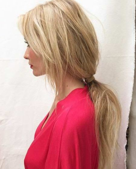 low loose pony with side bangs messy ponytail hairstyles