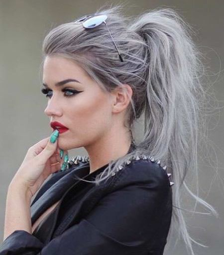 messy and teased gray pony messy ponytail hairstyles
