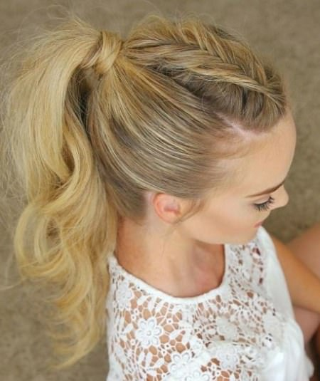 messy ponytail with a dutch braid messy ponytail hairstyles