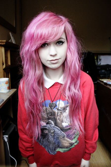 pastel pink with side swept bangs