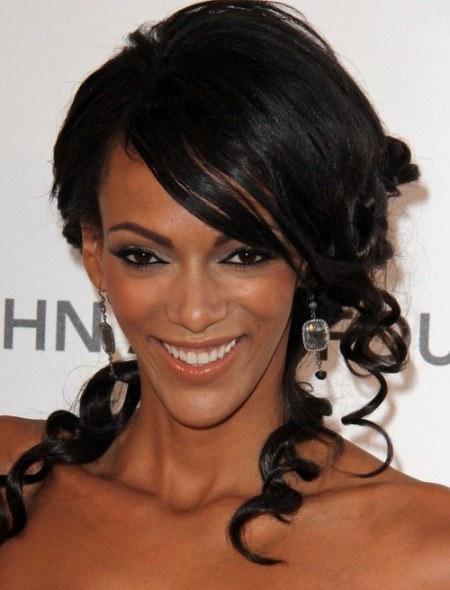 pined up ringlet black curly hairstyles